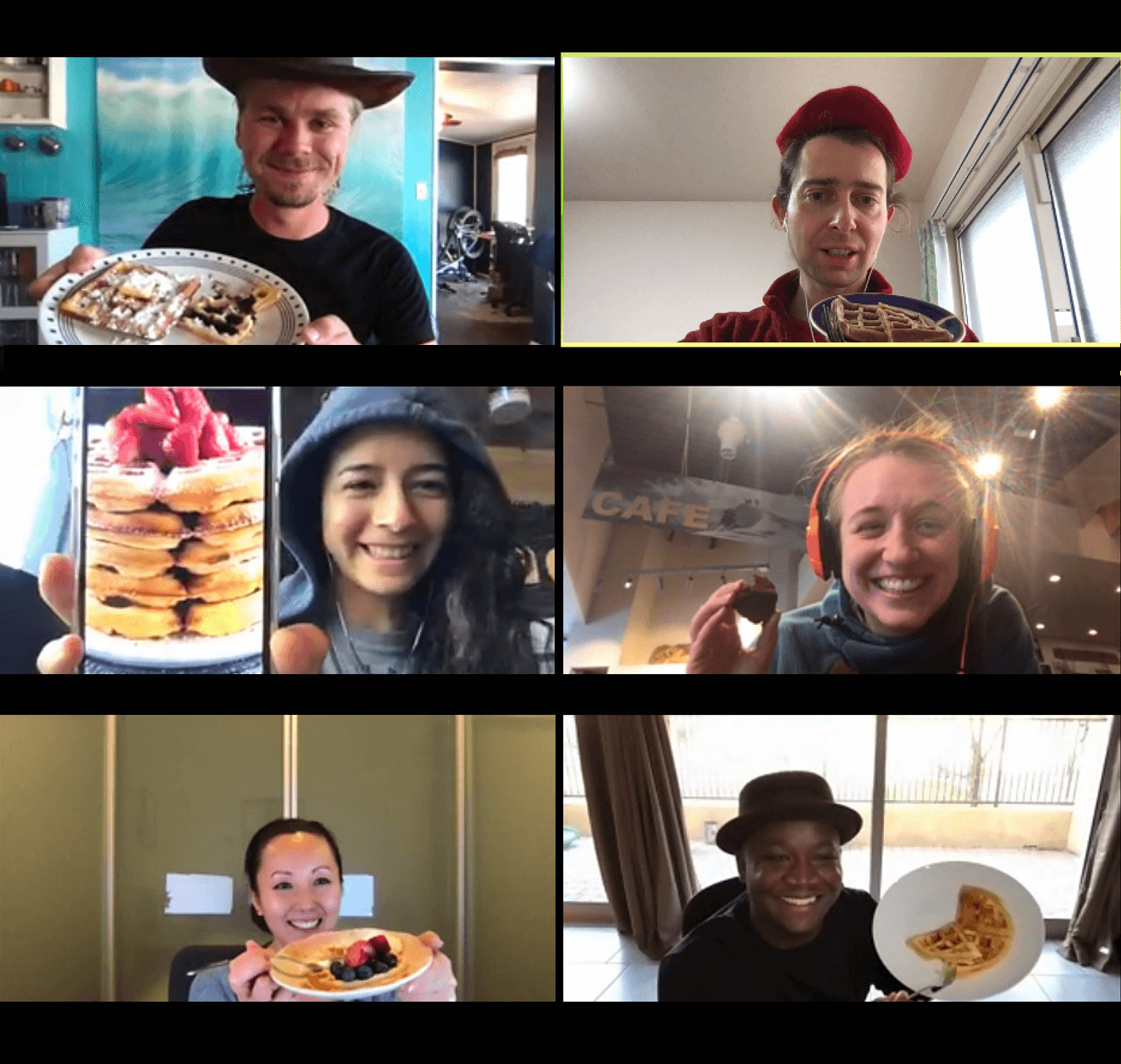 Team members on a Zoom call in the San Francisco office.