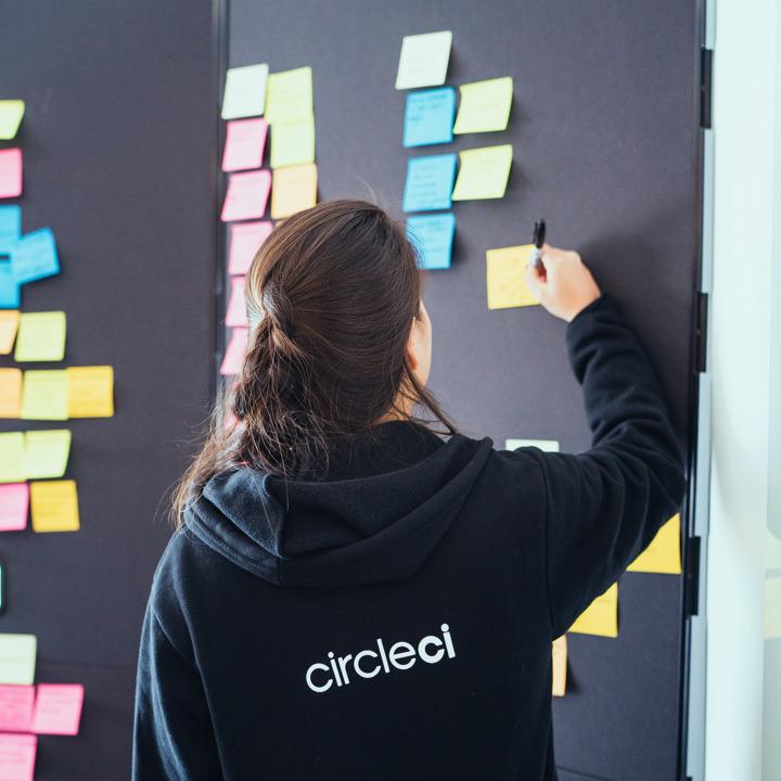 付箋でいっぱいになったボードに書き込むチーム メンバー。CircleCI のロゴ入りスウェットシャツを着ています。